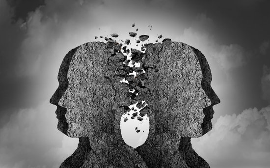 Social conflict and a bad relationship as an emotional impact causing psychological damage or painful feelings in a 3D illustration style.