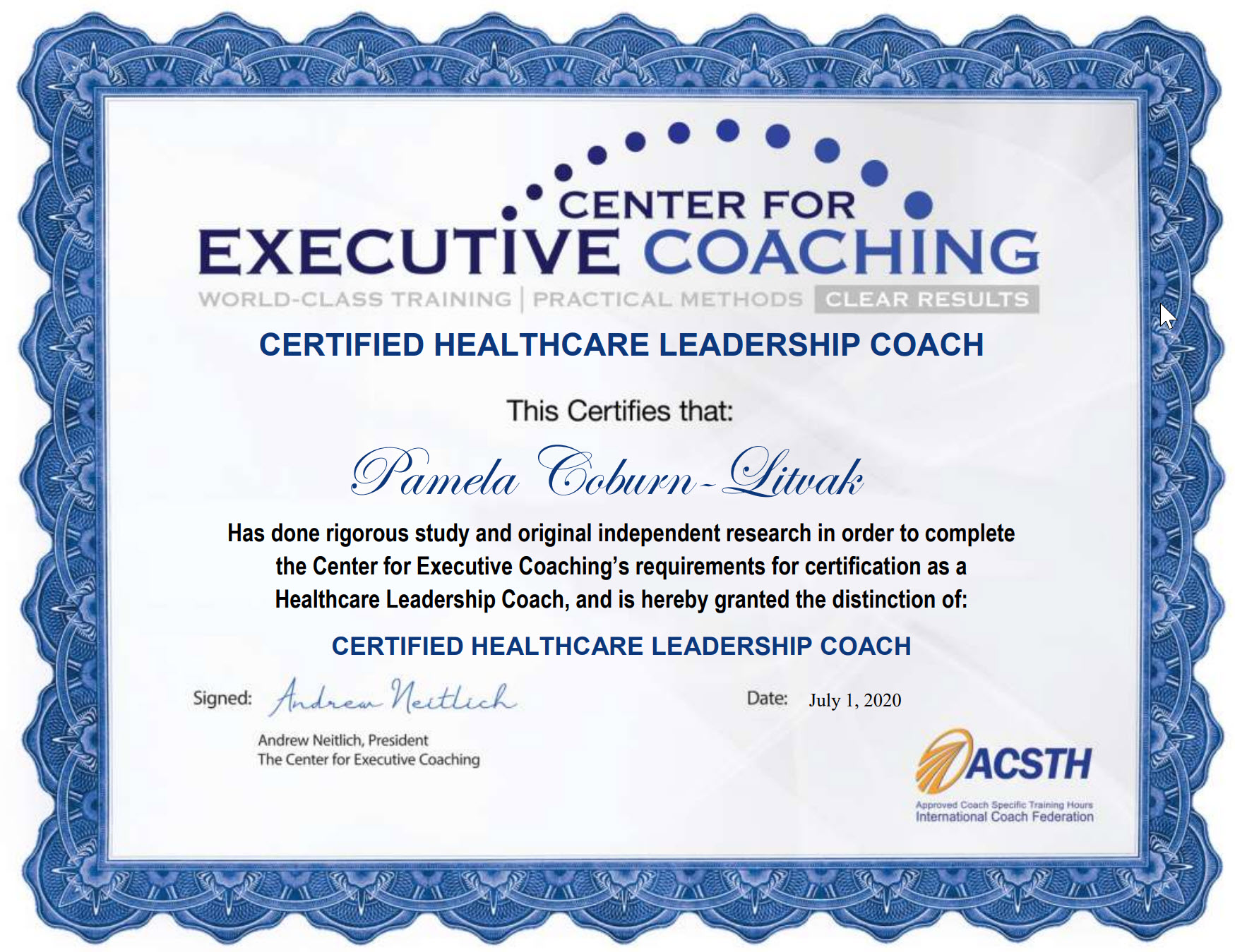 Certified Healthcare Leader Coach